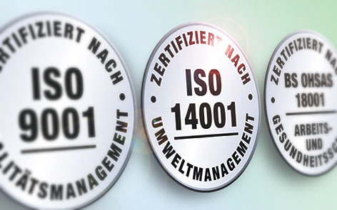ISO seals: ISO 9001 quality management, ISO 14001 environmental management, BS OHSAS 18001 health & safety